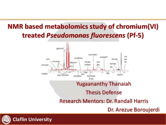 Claflin University NMR based metabolomics study of chromium(VI) treated Pseudomonas fluorescens (Pf-5) Yugaananthy Thanaia...