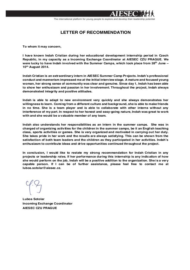 Recommendation letter aiesec letter of recommendation to whom it may concern i have known indah cristian during her thecheapjerseys Images