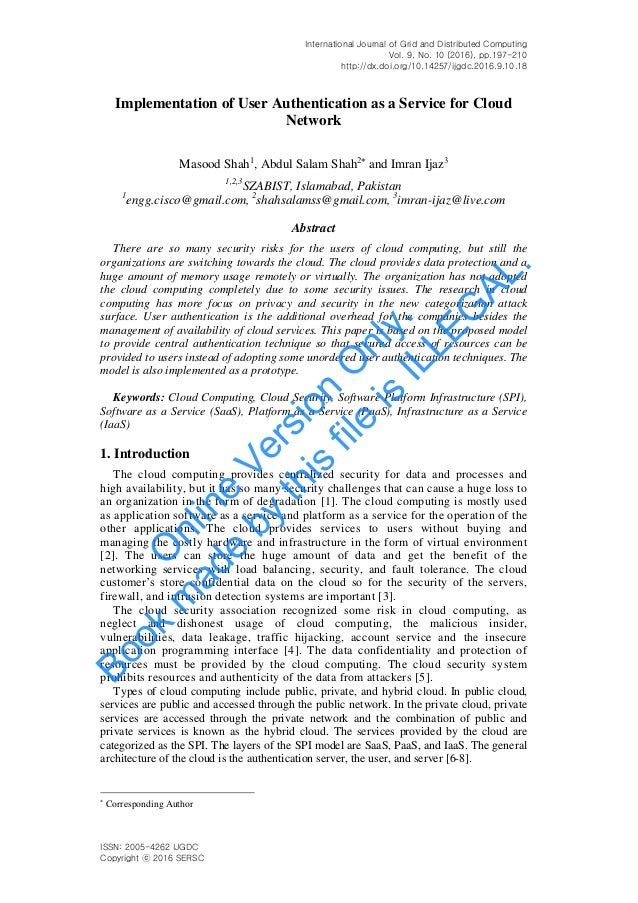 International Journal of Grid and Distributed Computing Vol. 9, No. 10 (2016), pp.197-210 http://dx.doi.org/10.14257/ijgdc...