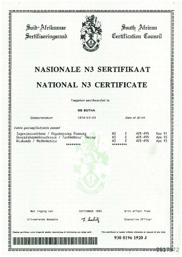 N3 National Certificate