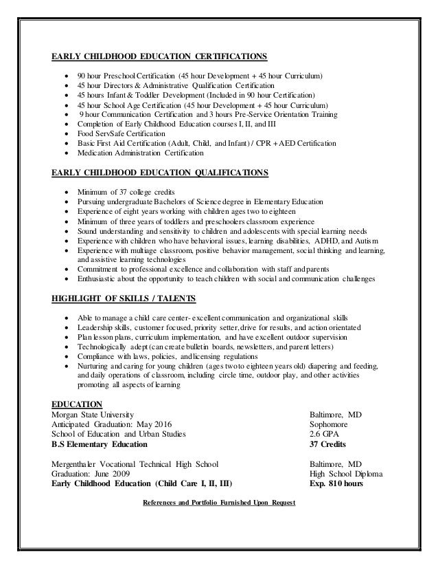 2. EARLY CHILDHOOD EDUCATION CERTIFICATIONS ...  Child Development Resume