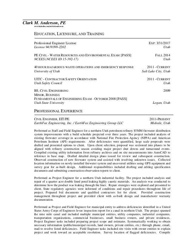 Clark M. Anderson, PE Www.linkedin.com/in/clarkanderson EDUCATION ...  Professional Engineer Resume