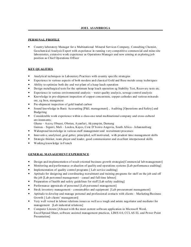 Outstanding Laboratory Operations Manager Lebenslauf Model ...