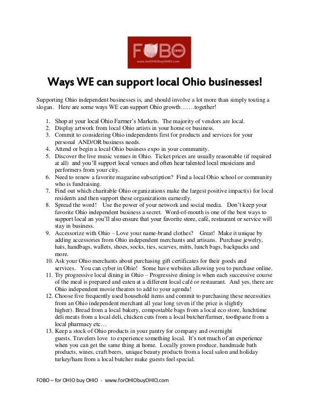 FOBO – for OHIO buy OHIO - www.forOHIObuyOHIO.com Ways WE can support local Ohio businesses! Supporting Ohio independent b...