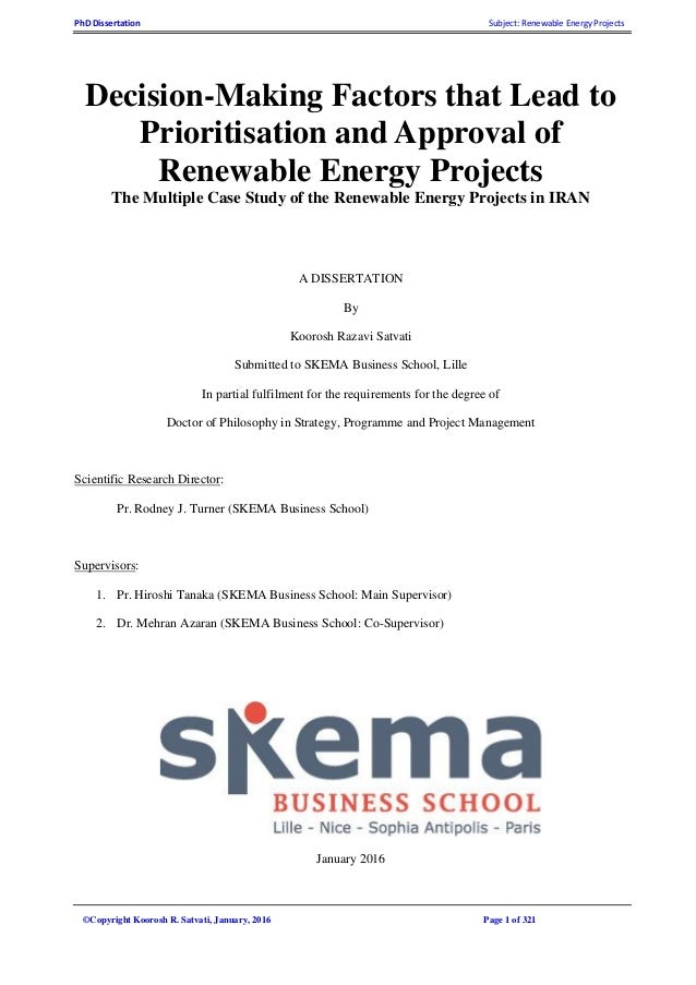Dissertation in renewable energy management