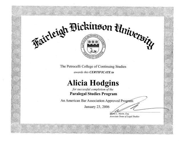 Fdu Paralegal Certificate
