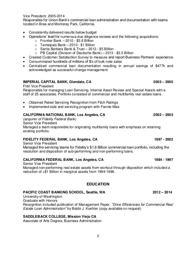 Bank President Resume Sample Resume For Bank President 1 Commercial Loan  Documentation 2 2 Vice President