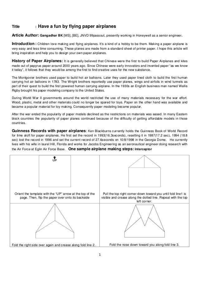 How to make a paper airplane out of printer planes in the world