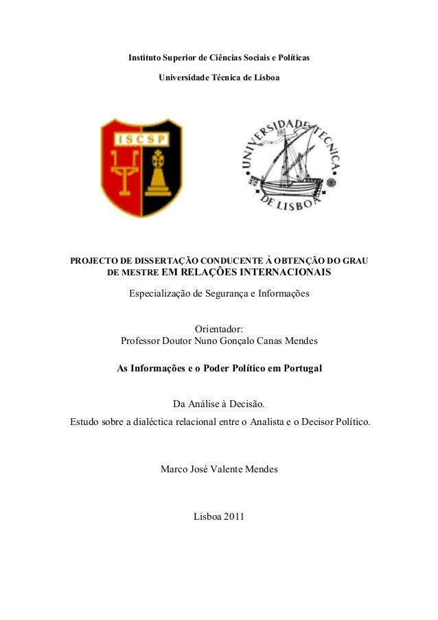 Instituto Superior de Ciências Sociais e Políticas Universidade Técnica de Lisboa PROJECTO DE DISSERTAÇÃO CO DUCE TE À OBT...