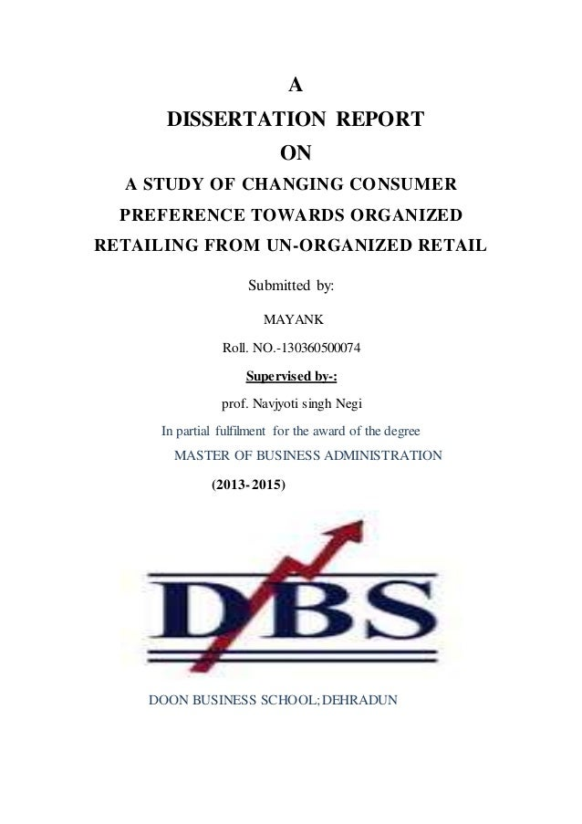 Dissertation report on retail