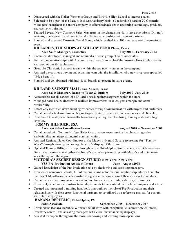 cosmetics sales resume