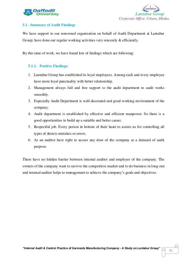 Internship Report in Auditing Essay