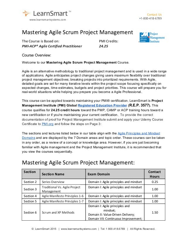 Mastering Agile Scrum Project Management Course Map 1