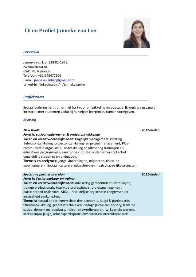 CV & profiel Janneke van Lier Linkedin