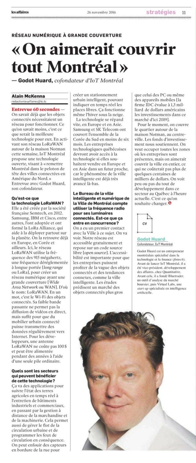 Journal Les Affaires - IoT Montréal