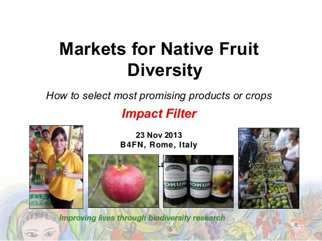 Markets for Native Fruit Diversity How to select most promising products or crops  Impact Filter 23 Nov 2013 B4FN, Rome, I...