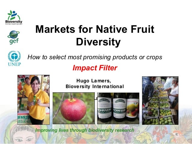 Markets for Native Fruit Diversity How to select most promising products or crops  Impact Filter Hugo Lamers, Bioversity I...