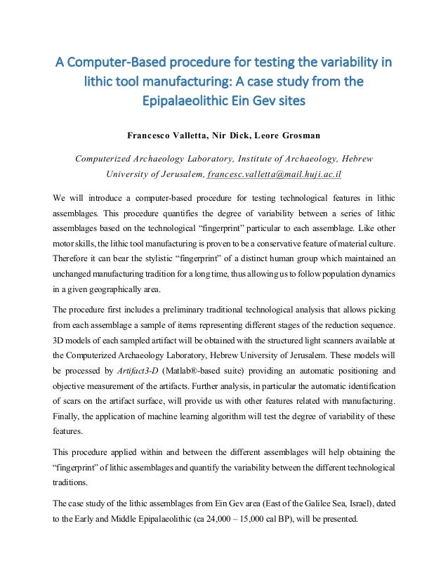 A	   Computer-­‐Based	   procedure	   for	   testing	   the	   variability	   in	    lithic	   tool	   manufacturing:	   A...