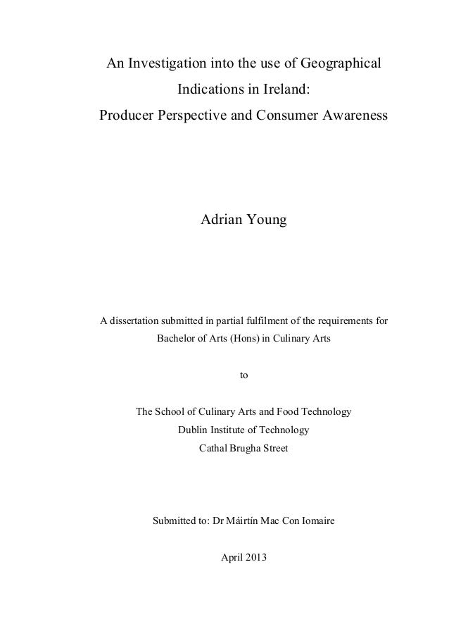 An Investigation into the use of Geographical Indications in Ireland: Producer Perspective and Consumer Awareness Adrian Y...