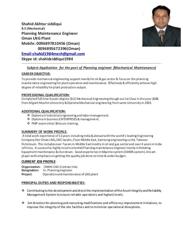 resume for maintenance engineer mechanical