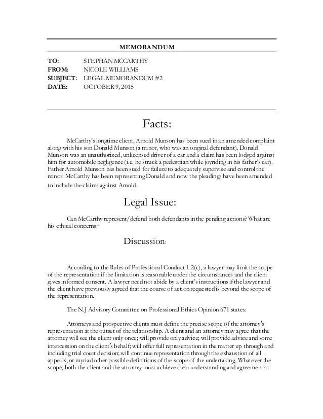 Legal Memo #2 Paralegalism