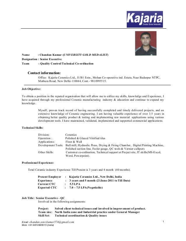 chandan kumar resume - Ceramic Engineer Sample Resume