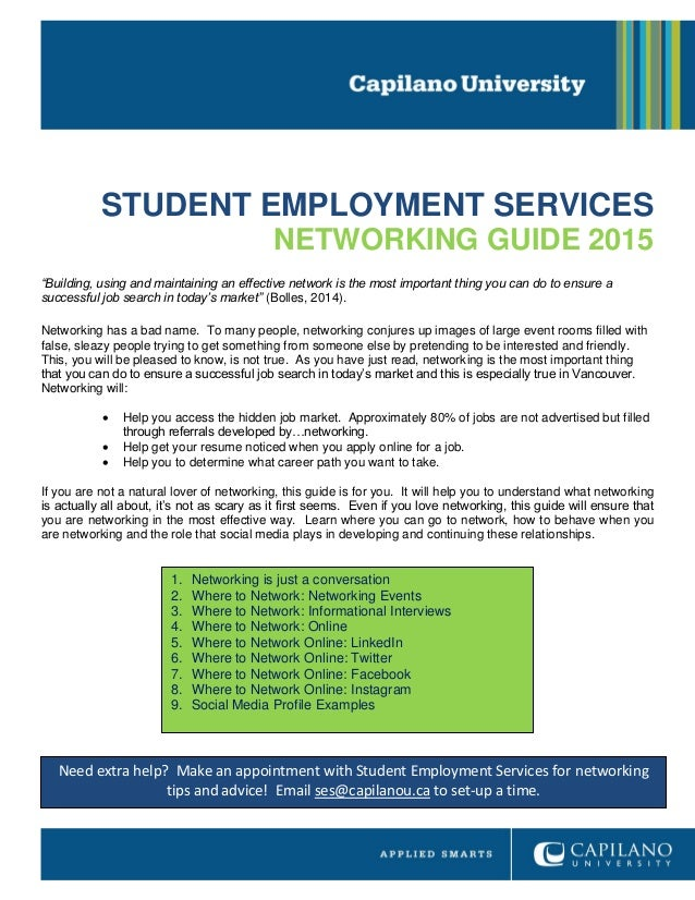 STUDENT EMPLOYMENT SERVICES NETWORKING GUIDE 2015 U201cBuilding, Using And  Maintaining An Effective Network Is ...