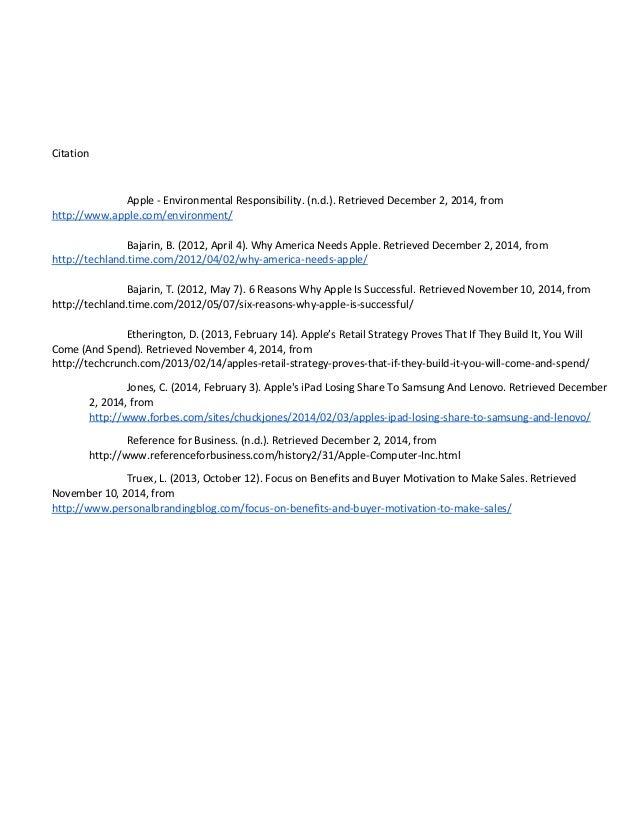 Citation Apple - Environmental Responsibility. (n.d.). Retrieved December 2, 2014, from http://www.apple.com/environment/ ...