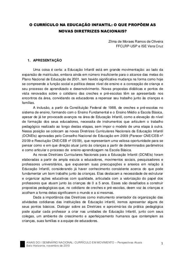 ANAIS DO I SEMINÁRIO NACIONAL: CURRÍCULO EM MOVIMENTO – Perspectivas Atuais Belo Horizonte, novembro de 2010 1 O CURRÍCULO...