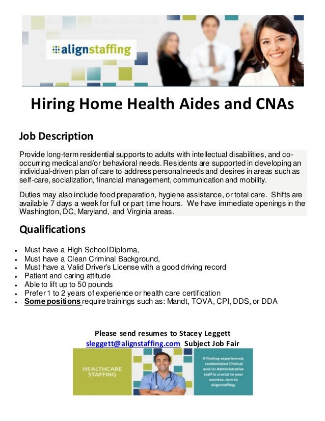 hiring home health aides and cnas job description provide long term residential supports to adults - Job Duties Of Cna