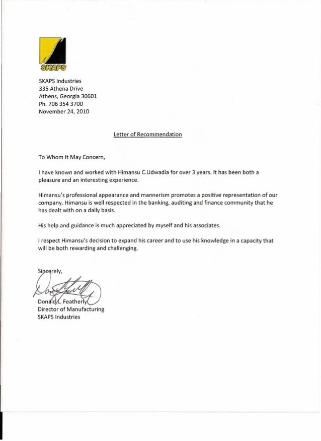 Recommendation Letter Director Of Manufacturing