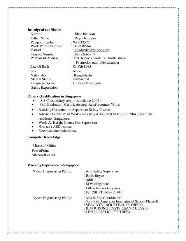 resume immigration status
