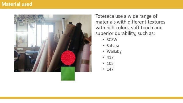 Material used Toteteca use a wide range of materials with different textures with rich colors, soft touch and superior dur...