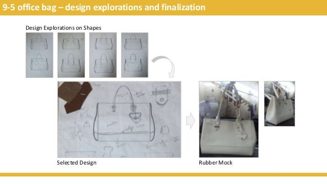9-5 office bag – design explorations and finalization Design Explorations on Shapes Selected Design Rubber Mock