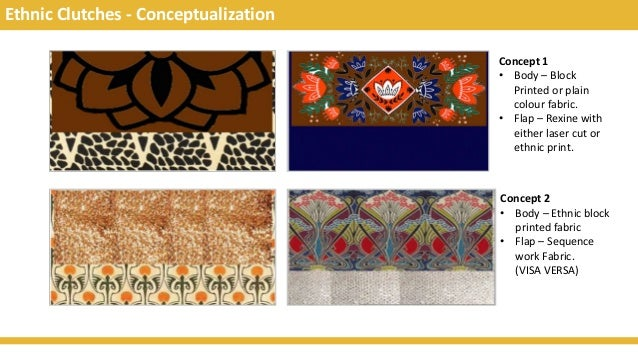 Ethnic Clutches - Conceptualization Concept 1 • Body – Block Printed or plain colour fabric. • Flap – Rexine with either l...