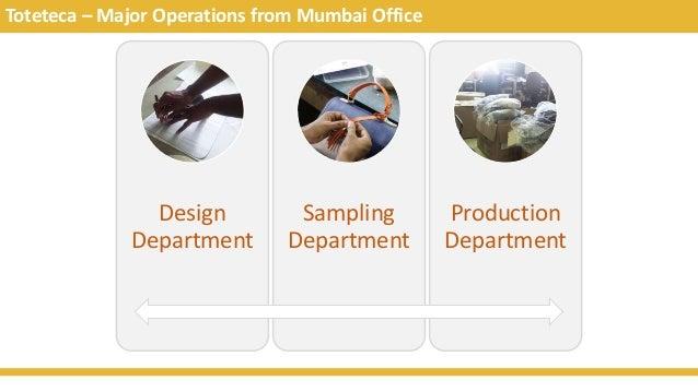Toteteca – Major Operations from Mumbai Office Design Department Sampling Department Production Department