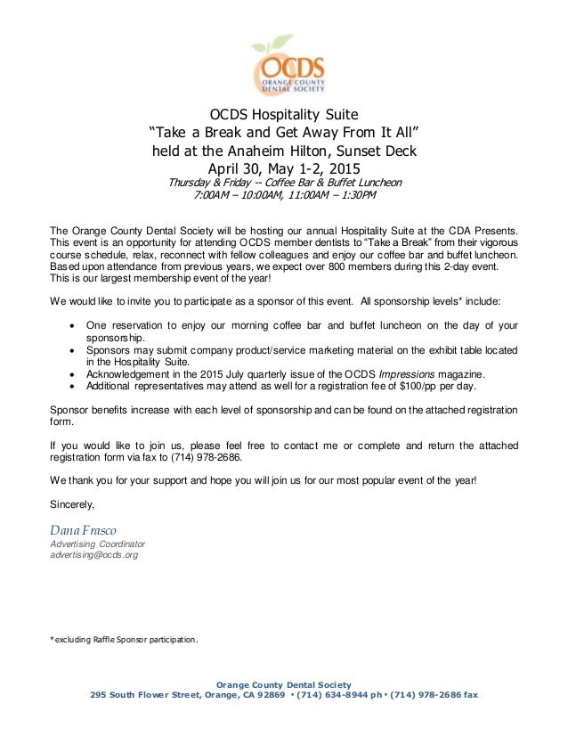 """OCDS Hospitality Suite """"Take a Break and Get Away From It All"""" held at the Anaheim Hilton, Sunset Deck April 30, May 1-2, ..."""