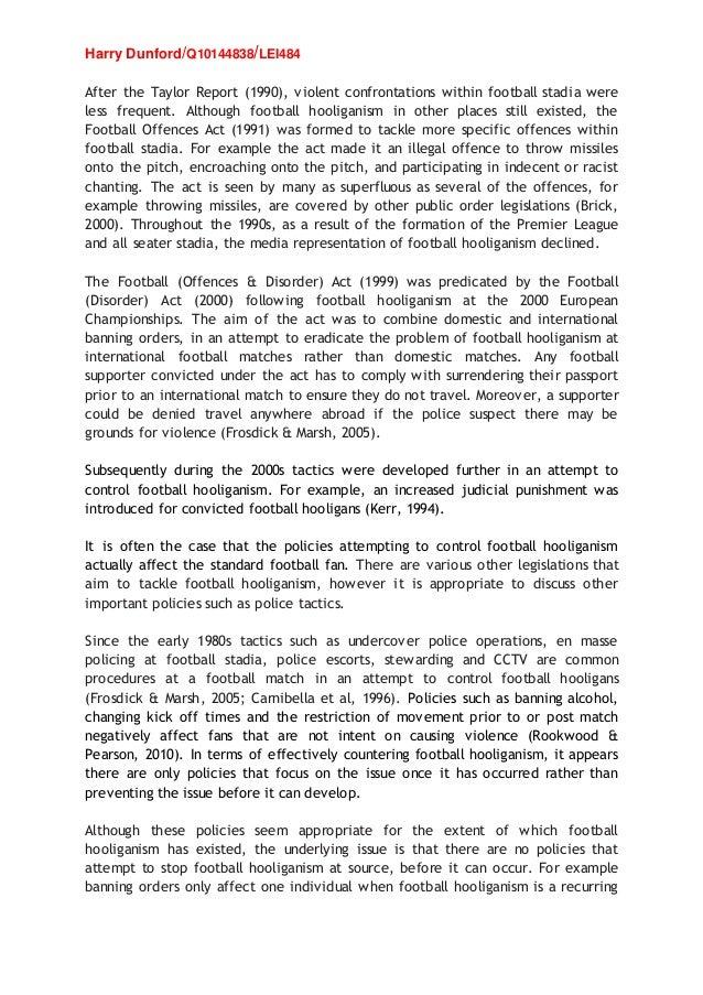 Dissertation on football hooliganism
