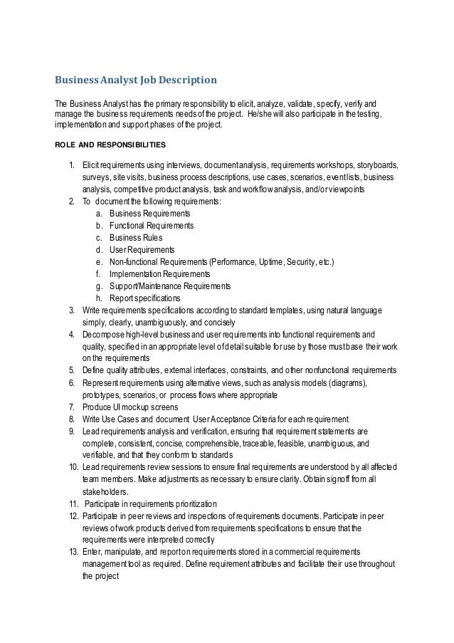 it business analyst job description sample
