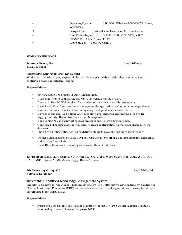 java developer resume resume java developer resume