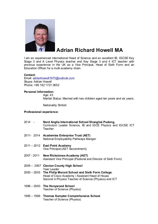 Adrian Richard Howell MA I Am An Experienced International Head Of Science And Excellent IB