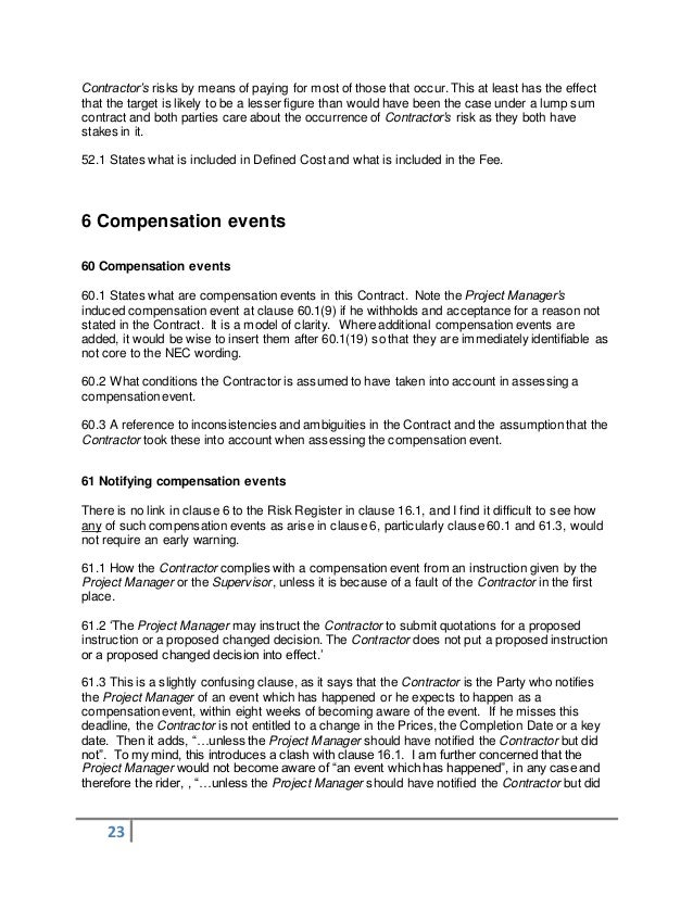 NEC Engineering and Construction Contract