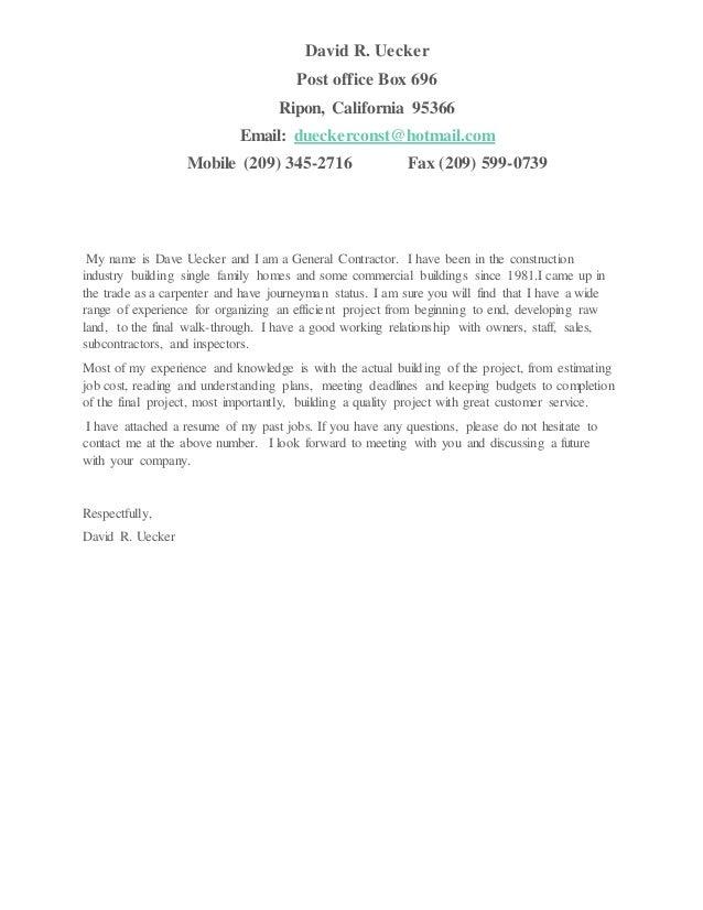 General Contractor Resume