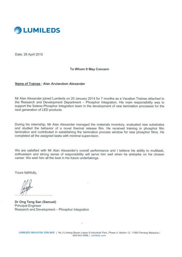 recommendation dr sam letter principal engineer