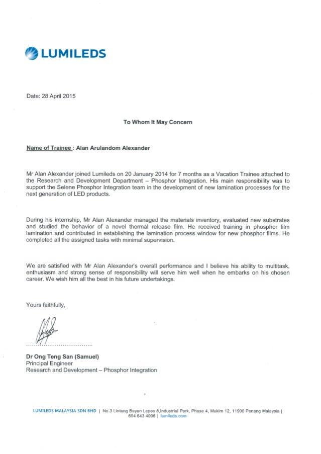 recommendation dr sam letter principal engineer