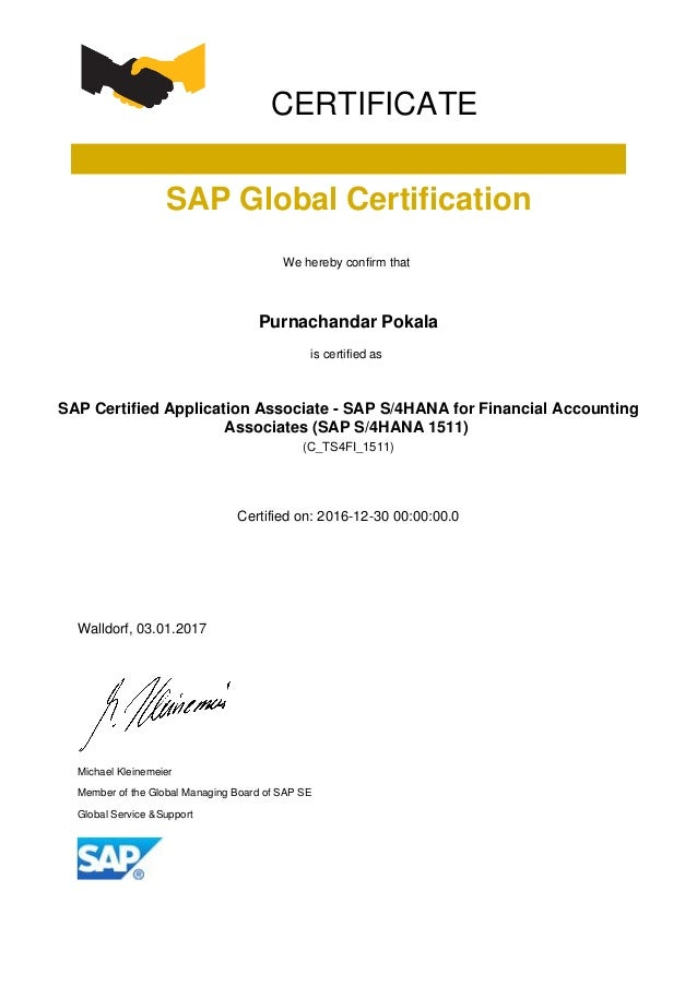CERTIFICATE SAP Global Certification We hereby confirm that Purnachandar Pokala is certified as SAP Certified Application ...