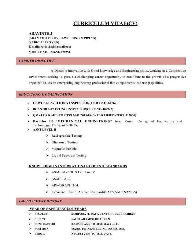 ARAVINTH(CV Aramco Approved)