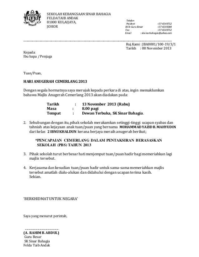 contoh surat rasmi jemputan ke majlis perasmian contoh kr