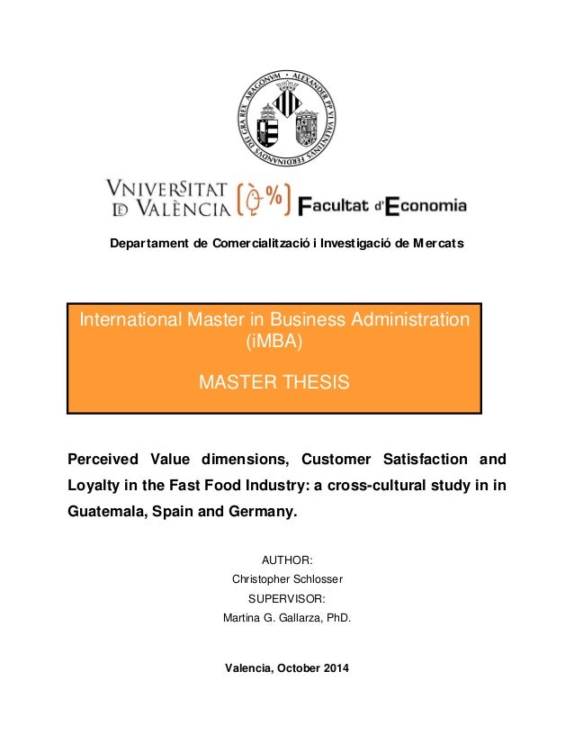 Master thesis customer satisfaction