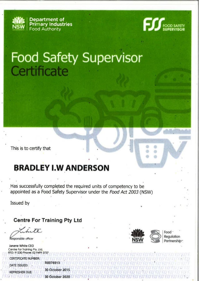 What Is A Food Safety Supervisor Certificate